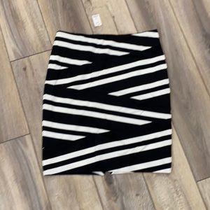WHBM Black and White Striped Body-con Skirt